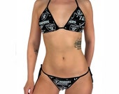 Oakland Raiders Black Bikini - Buy Top Bottom OR Separates Made W LICENSED Fabric - Custom Made Top, Scrunch Bottom - Pick Your Coverage