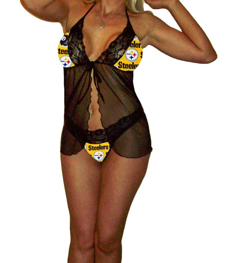 49b11b9e5 Pittsburgh Steelers Lace Babydoll Negligee Lingerie Yellow