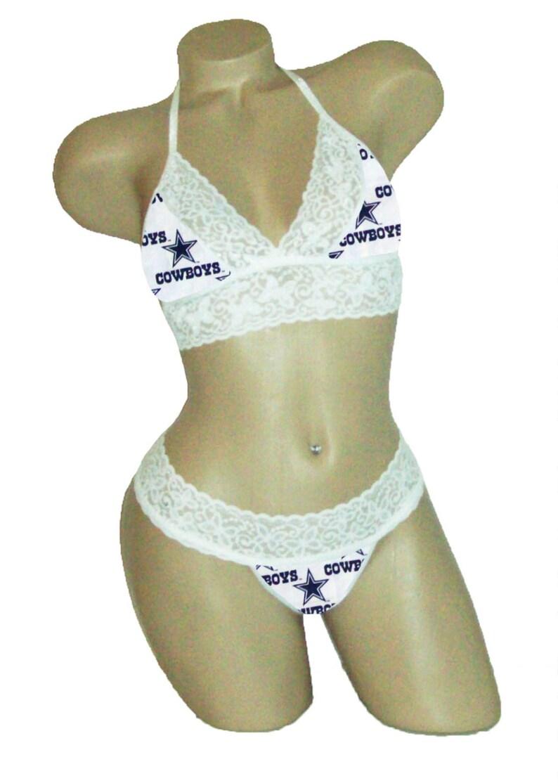 Sexy Dallas Cowboys 2 Lingerie White Lace Cami Tie-Top  d044ebb43