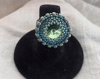 Peridot Swarovski Crystal Ring