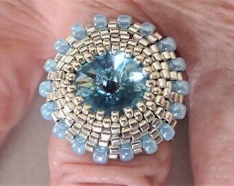 Aquamarine Beaded Ring