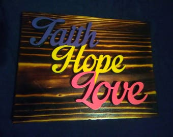Faith Wood Burned Plaque - Hope Wood Burnt Sign - Love Wood Burned Sign - Faith Wood Burnt Plaque  - Hope Wooden Sign