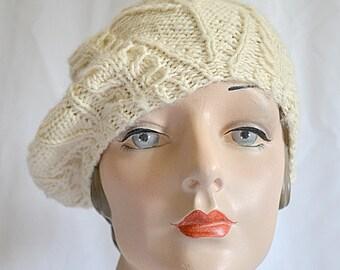 f0370d07297 Vintage Hand Knit Ivory Wool Tam O Shanter Beret Cap Hat