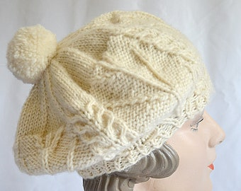 94c22b2188dc9 SALE Vintage Hand Knit Ivory Wool Tam O Shanter Beret Cap Hat