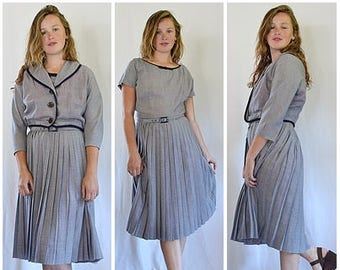 Vintage 1950s Navy and White Tiny Check Dress and Jacket Set Suit Sz M
