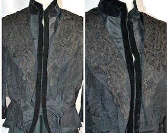 Antique Victorian Black Taffeta Velvet and Mixed Lace Bodice or Jacket Sz M/L 38 Inch Bust