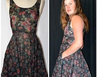 Vintage Rose and Blue Floral On Black Cotton Sleeveless Flared Skirt Mini Dress BERLINER Germany Sz S