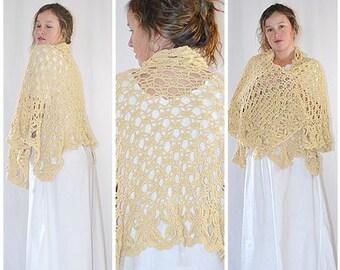 Vintage Heavy Crocheted Cream Cotton Shawl Cape Shrug