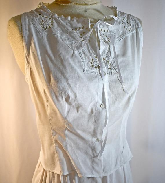 Antique Edwardian White Cotton Camisole Corset Cov