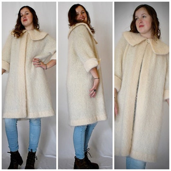 Vintage 1950s Ivory Mohair Sweater Coat Bust to 46