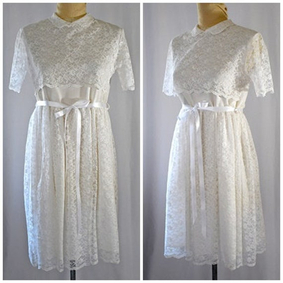 Vintage 1960s White Lace Baby Doll Mini Dress Wedd