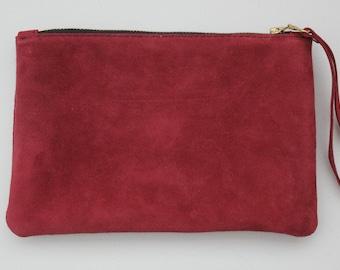 Lederen Clutch tas schoudertasje clutch tas, kastanjebruin leer suede tas, Designer leerzak suede