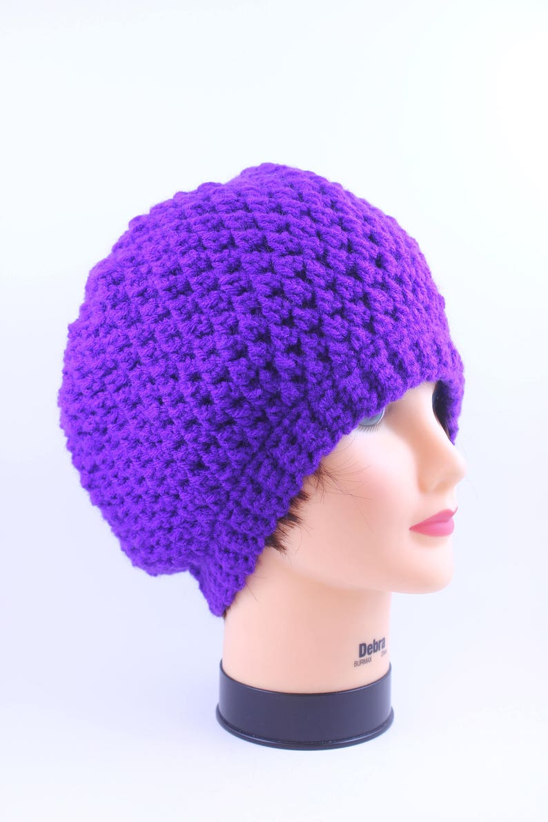 Head Accesory Slouchy Beanie Boho-chic Hand Knitted Purple Beanie