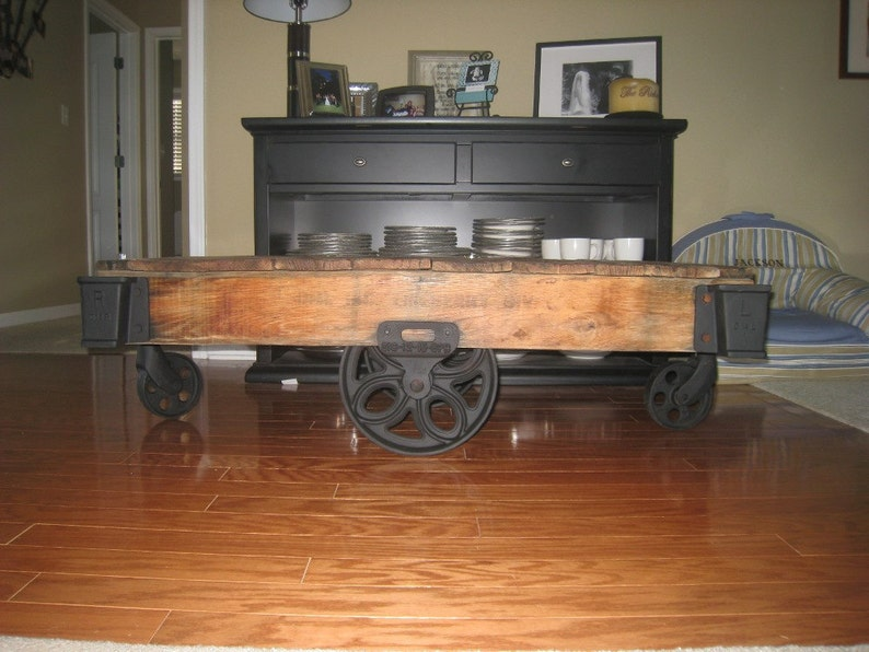 Tremendous Antique Coffee Table End Table From Lineberry Factory Cart Restored Oak Cast Iron Interior Design Ideas Tzicisoteloinfo