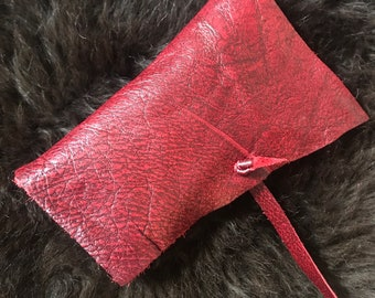 Red Leather Roll-up Tobacco Pouch, Handsewn of Gorgeous Italian Leather, for Pipe or Rolling Tobacco, more