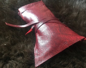 Gorgeous Red Italian Leather Roll-Up TOBACCO POUCH, Handsewn In Brooklyn, NY., For Pipe Tobacco or Rolling Tobacco