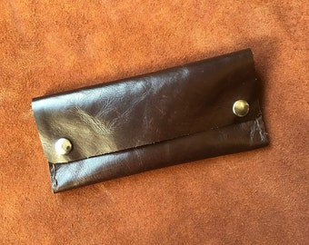 LEATHER TOBACCO POUCH, Gorgeous Italian Leather, Handsewn, Pipe, Rolling Tobacco, Sunglasses case, Pouch, Snaps
