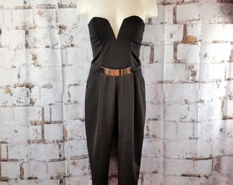 Vintage S70s80s trapless Plunge V Disco Romper- Size M- Coco Avante- Made in the USA- Jumpsuit- Pantsuit