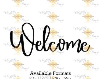 NEW-Welcome hand letter cut file for Home, Baby shower, Wedding, Family Decor