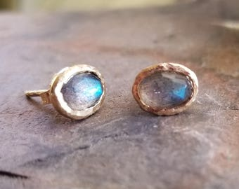 Labradorite Stud Earrings in Yellow Gold, Rose Cut Labradorite, 14K Recycled Yellow Gold, Eco-Friendly Studs