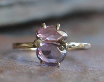 Pink and Purple Rose Cut Sapphire Ring in Recycled 14K White Gold, Prong Set, Dainty, Claw Prongs, Handmade, One of a Kind, Ready to Ship