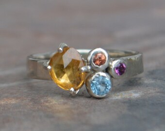 Rose Cut Yellow Sapphire Cluster Ring, White Gold, Swiss Blue Topaz, Padparadscha Sapphire, Amethyst, Alternative Engagement Ring