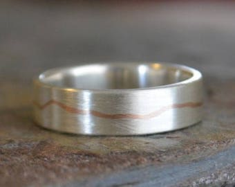 Gold Inlay Men's Wedding Band Sterling Silver Thick Band ~The Gentle River Ring~ Smooth Band