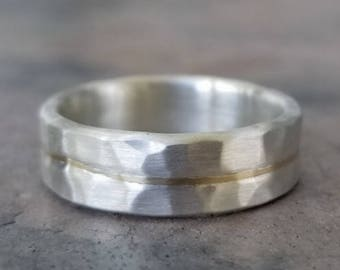 Yellow Gold Sterling Silver Mens Wedding Band Textured Eco Friendly Recycled 14K Gold Inlay Sterling Silver Hammered ~The Golden Flow Ring~