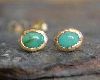 Turquoise and Yellow Gold Studs, Rustic, Textured, Stud Earrings, Recycled Gold, 14K Solid Gold with Gold Backs