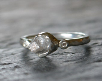 Raw Natural Diamond Engagement Ring Handmade in Sterling Silver with Diamond Accents