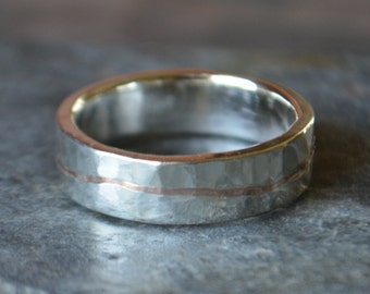 Rose Gold Sterling Silver Mens Wedding Band Textured Eco Friendly Recycled 14K Gold Inlay Sterling Silver Hammered ~The Golden Flow Ring~