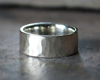 Silver Hammered Men's Wedding Band Eco Friendly Comfort Fit Textured Sterling Silver Rugged Thick Manly Silver Ring