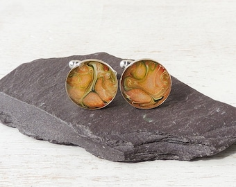 Orange & Green Cufflinks, Marble Pattern Resin Cufflinks, Orange Jewellery, Marbled Cufflinks, Resin Jewellery, UK Seller