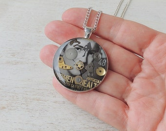 Large Steampunk Necklace with Elizabeth Garrett Anderson Stamp & Old Watch Parts, Steampunk Jewellery, Resin Jewellery, Philately, UK Seller
