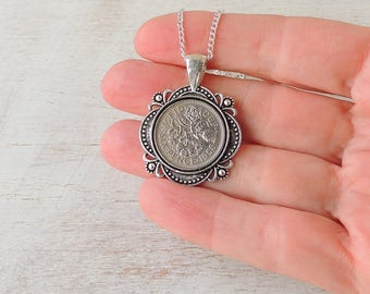1958 Sixpence Necklace, 60th Birthday, Sixpence Jewellery, 1958 Date Number, Coin Jewellery, Birthday Jewellery, Birthday Gift, UK Seller