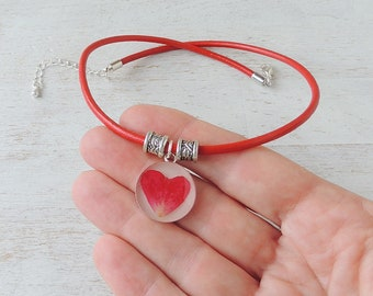 Red Rose Necklace with a Rose Petal Heart Pendant on Red Leather Necklace, Rose Jewellery, Resin Jewellery, Botanical Jewellery, UK Seller