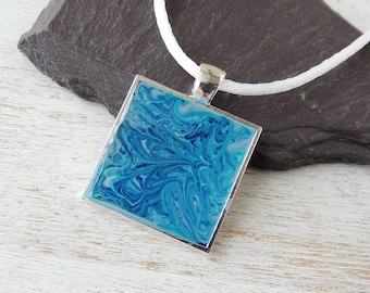 Blue & White Necklace, SALE, Blue Marbled Resin Pendant on White Cord Necklace, Blue and White Jewellery, Resin Jewellery, UK Seller