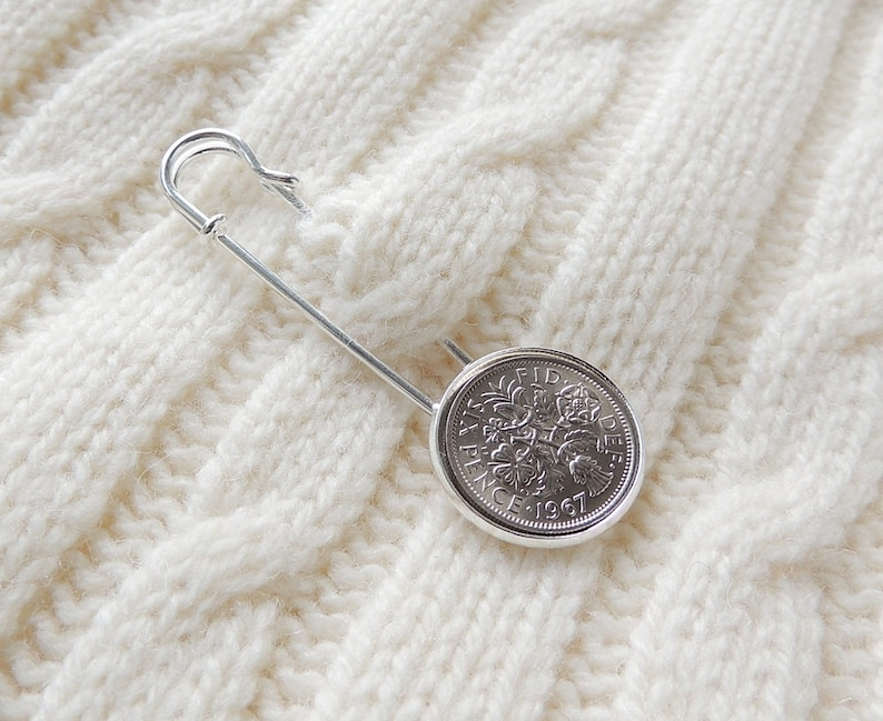 Silver Colour Shawl or Cardigan Pin 1967 Lucky Sixpence Kilt Pin Brooch UK Seller