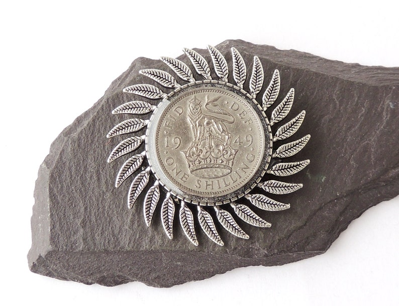 1949 Shilling Brooch with Scottish or English Shilling, 70th Birthday, UK  Seller