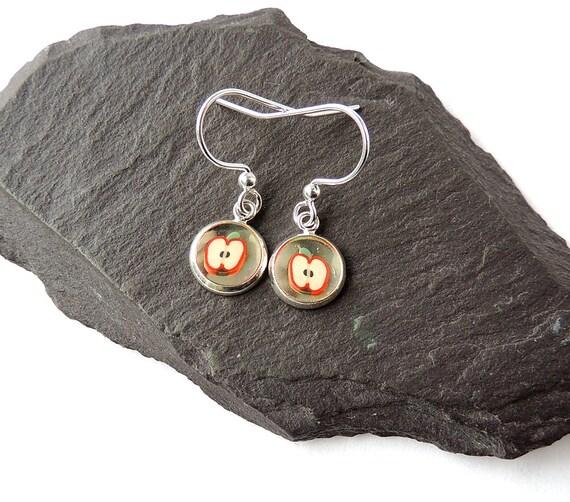 Food miniatures *Avocado* earrings on silver plated fishhook posts