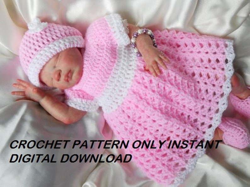 217e697d4 Baby layette 3 piece set Crochet pattern Simple Shells Dress