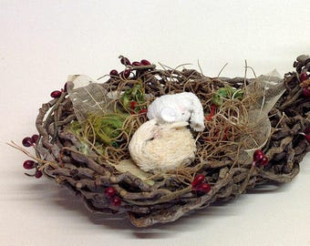 DORMICE Assemblage, Handmade Nest from Palm Tree, Viscose Dormice,