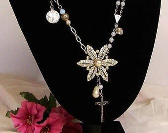 ALTERED PENDANT NECKLACE, Wrapped Wire, Found Objects, Repurposed, Diamante Pendant, Crucifix, Rosary Beading