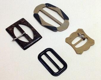 VINTAGE BUCKLES LOT, Plastic, Brown, Black