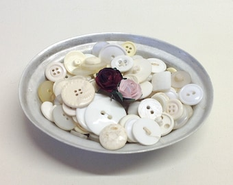 BUTTON LOT in VINTAGE Aluminium Pie Dish, White, Pearl, Clear, Glass Buttons, No2