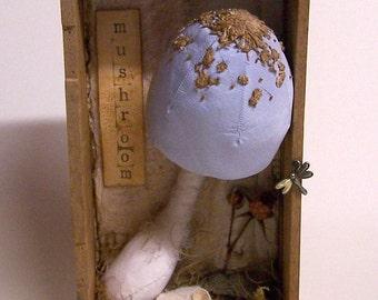 SOFT SCULPTURE, FABRIC Mushroom with Dormouse, Toadstool, Fungi, Fungus, Assemblage, Silk Fabric