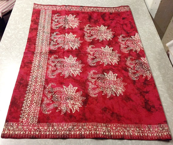 Black BATIK FABRIC RED Vintage Cotton Length White