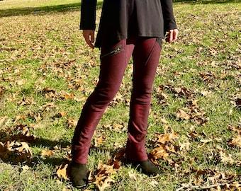 Maroon/black warm winter leggings
