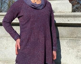 Long Sleeve Hemp/Organic Cotton Cowl neck- Indigo/wine