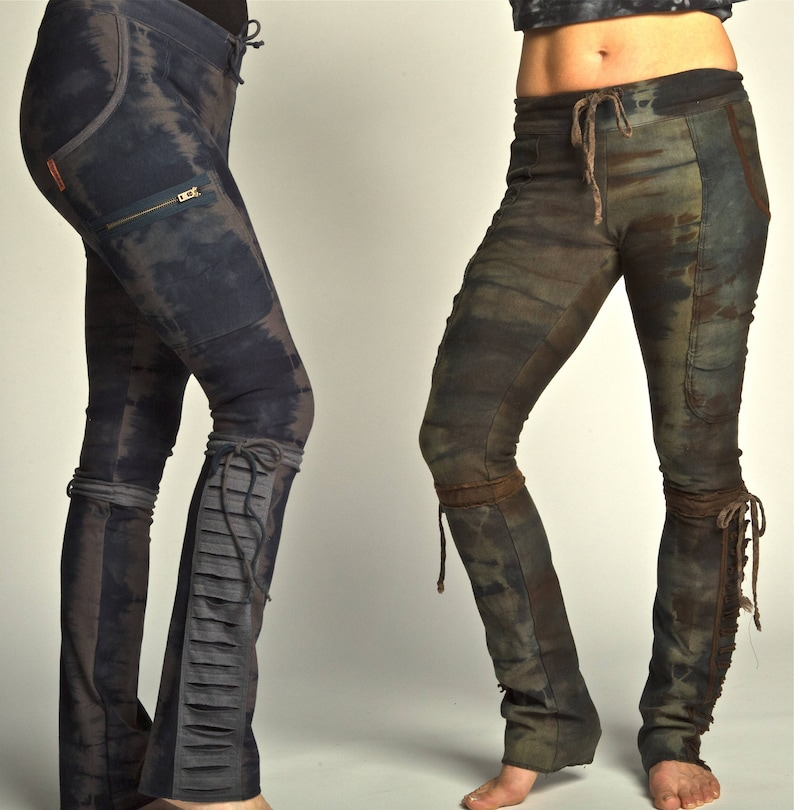 Camo soy/organic cotton leggings with tassles and side pocket image 0